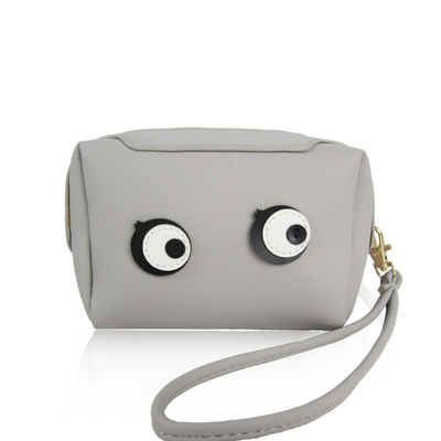 "Small wristlet handbag ""Eyes"", grey"
