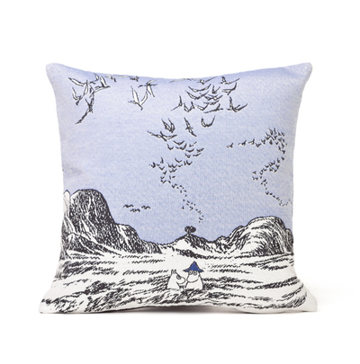 Tapestry decor pillow case soft, Moomins at the Sea, 32x33cm, blue