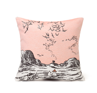 Tapestry decor pillow case soft, Moomins at the Sea, 32x33cm, rose