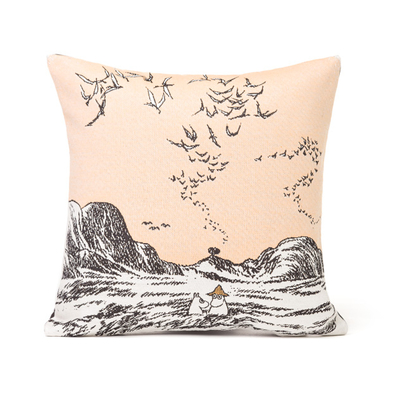 Tapestry decor pillow case soft, Moomins at the Sea, 32x33cm, sand