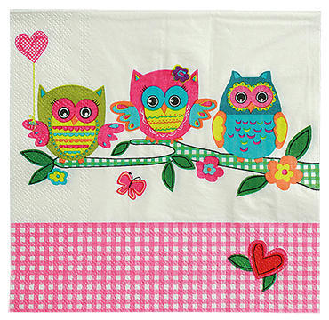 The party of owls napkins, 33x33cm
