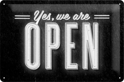Tin Sign Yes, we are open 20 x 30cm