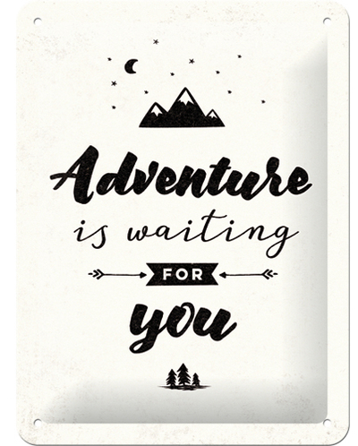 Tin sign Adventure is waiting, 15x20cm