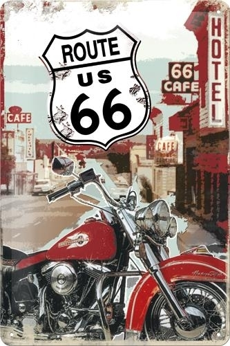 Tin sign Route 66 Lone Rider 20x30cm