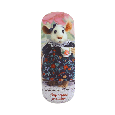 "Tiny Squee Mousies glasses case ""Acorn Cups Of Sunshine Tea"""