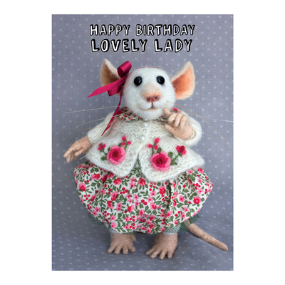 "Tiny Squee Mousies greeting card ""Happy Birthday Lovely Lady"""