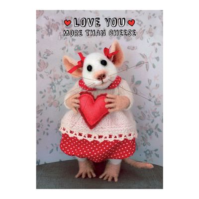 "Tiny Squee Mousies greeting card ""Love You More Than Cheese"""