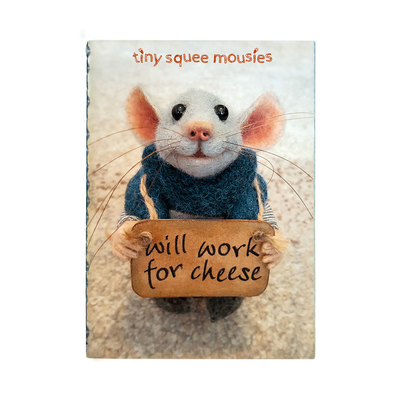 "Tiny Squee Mousies tiny notebooks 2pcs set ""Will Work For Cheese"" & ""Little Hug"""