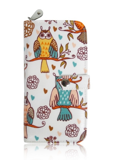 Vintage Owl Oilcloth Long Purse - White