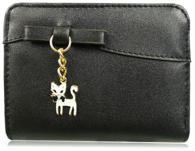 Wallet with a cat accessory, black