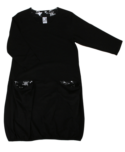 Women's Little My tunic/dress with big pockets, black-and-white