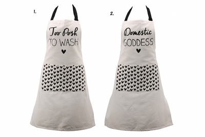 Women's apron. Different texts.