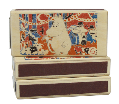 Wooden Moomin matchbox for two boxes, Comic 6