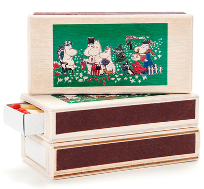 Wooden Moomin matchbox for two matchboxes, Birthday, coloured