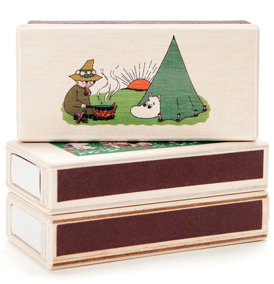 Wooden Moomin matchbox for two matchboxes, camping, coloured