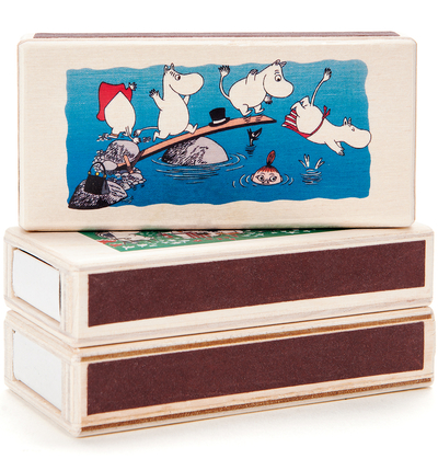 Wooden Moomin matchbox for two matchboxes, dive, coloured