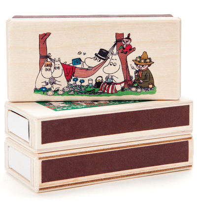 Wooden Moomin matchbox for two matchboxes, garden, coloured