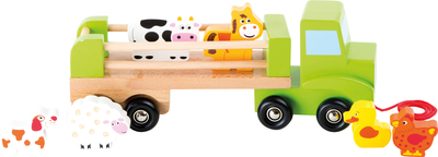 Wooden animal transport vehicle, colourful
