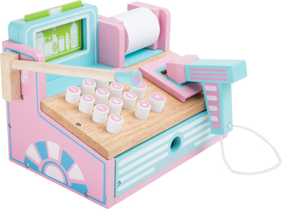 Wooden cash register with different accessories, pastel