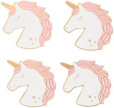 Wooden coasters, set of 4, Unicorn, Rainbow Unicorn