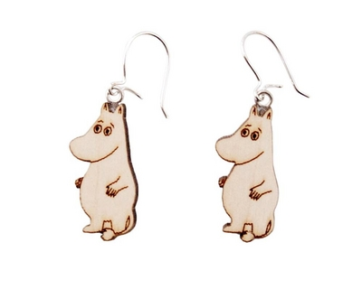 Wooden earrings, Moomintroll
