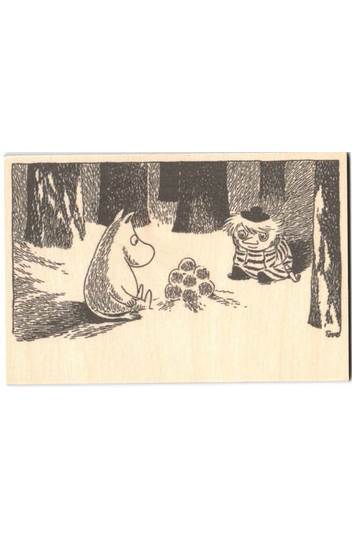Wooden greeting card, Moomin and Snow Lanter