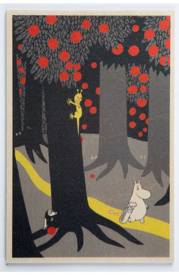 Wooden greeting card, Moomintroll in the Forest