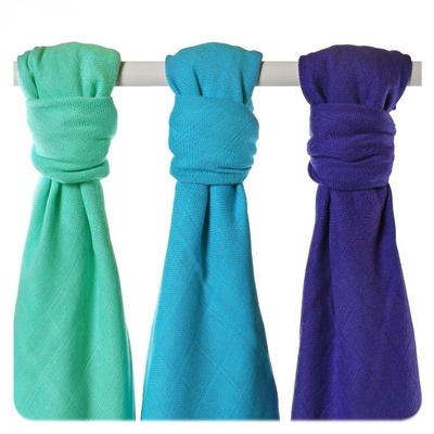 XKKO® Bamboo viscose gauze 3pcs for a baby, purple/turquoise mix