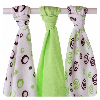 XKKO® Cotton-bamboo viscose Baby's Dyed Gauze 3pcs, lime