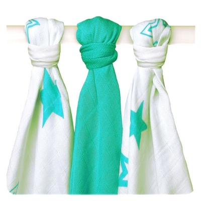 XKKO® Cotton-bamboo viscose Baby's Dyed Gauze 3pcs, mint/stars
