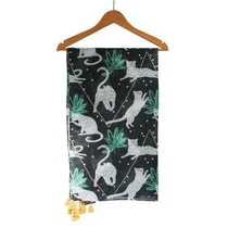 House of Disaster Felines scarf with tassels