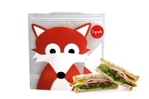 3 Sprouts reusable sandwich bag fox, grey, set of 2