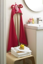 3 Sprouts towel with hood, light pink elephant