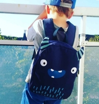 A Little Lovely Company backpack, deep blue monster