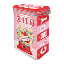 A tin can with a clamp, Candy