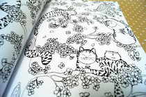 Adults' colouring book, A lap full of cats