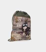 Anekke drawstring bag Let's fly away, brown