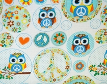 Baby's illustrated diaper gauze/ cloth gauze, peace owls, blue