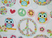 Baby's illustrated diaper gauze/ cloth gauze, peace owls, pink