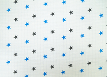 Baby's patterned diaper gauze, star, blue