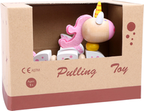 Baby's wooden unicorn pull toy