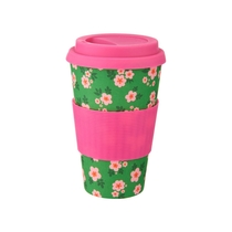 Bamboo take away mug, Frida, green/pink