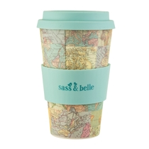 Bamboo take away mug, Vintage maps, blue
