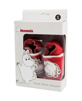 Children's Moomin Slippers Red, leather