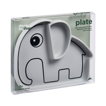 Done By Deer silicone Stick&Play plate Elphee, grey