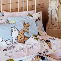 Finlayson Moomintroll and Sniff pillowcase, light pink