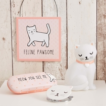 Glasses case, Meow You See Me, Cutie Cat light pink