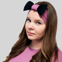 HuiGee Combo women's ribbon scarf/headband, rose/black