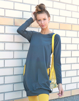 HuiGee Jazz tunic-dress grey/yellow pockets XS-3XL