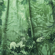 HuiGee Moomin Organic cotton tricot, Magic Forest, green, 28€/meter